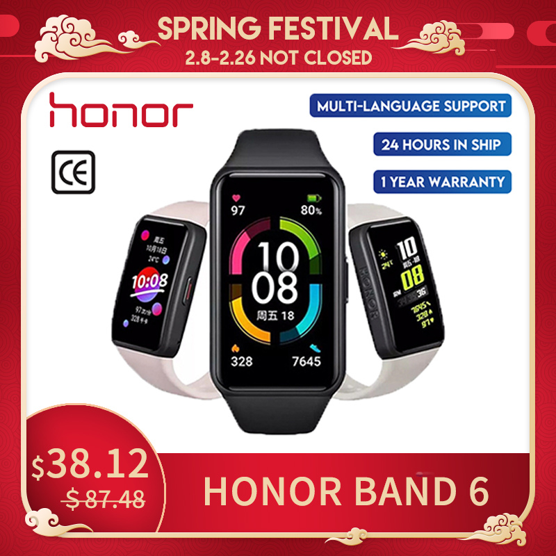 Новые Huawei Honor Band6 смарт-браслет 1st полный экран 1,47