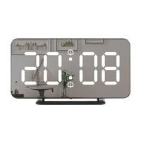 مرآة منبه رقمي على مدار الساعة LED درجة الحرارة الإلكترونية جدار الجدول غفوة الساعات USB متعددة الوظائف ساعة ضوء الليل مكتب المنزل