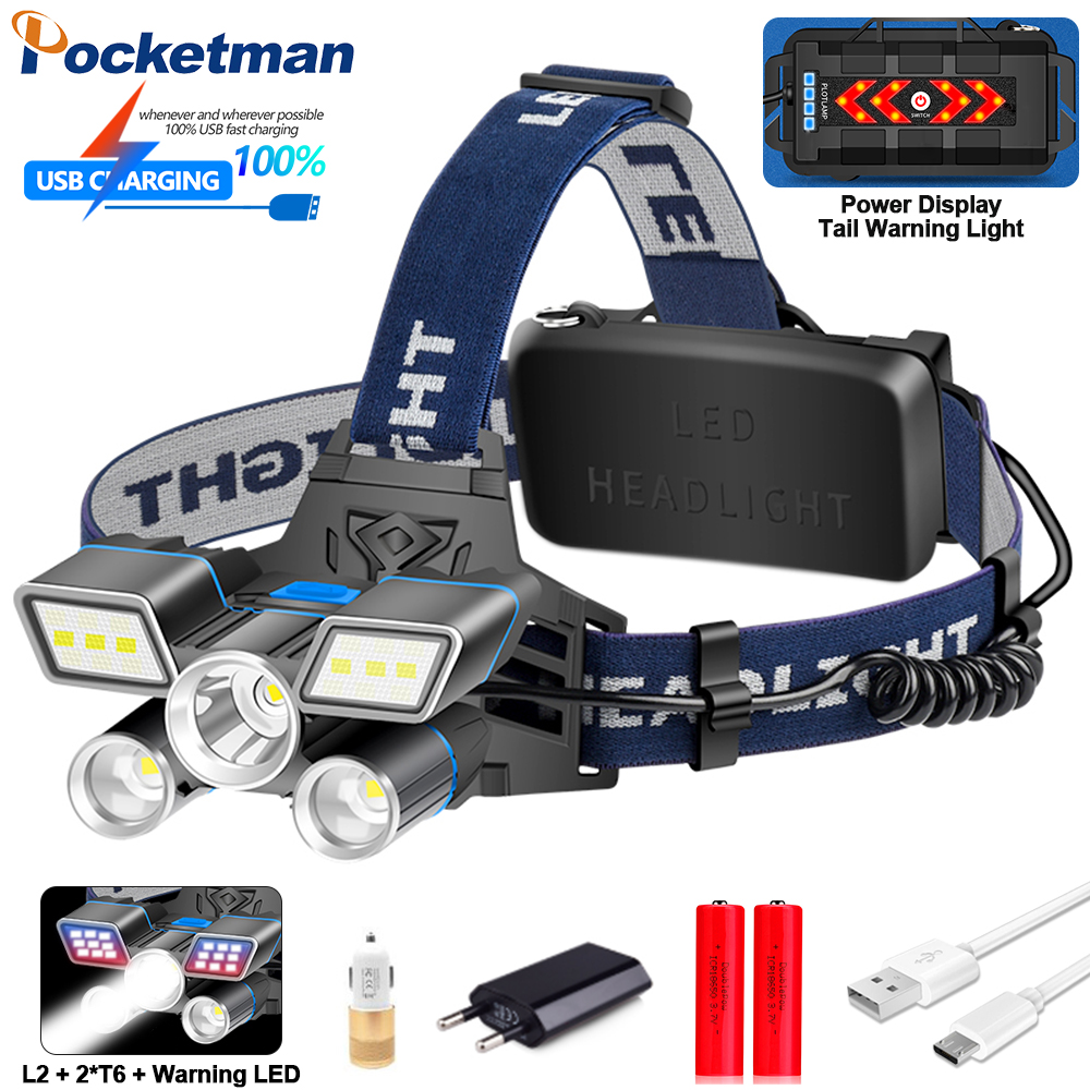 Red Blue White Light 9 Modes LED Headlamp L2+ 2*T6 LED Headlight USB Rechargeable Head Light With Tail Warning Light Waterproof