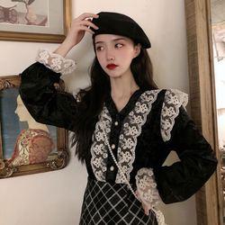 Lace Joint Velvet Shirt Women's Sense of Design Non-mainstream Long-sleeved Upper Garment 2019 New Style Autumn And Winter Loose