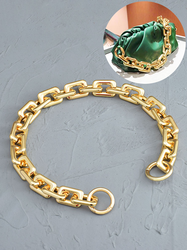 High Quality Golden Vintage Bag Chain Handle Shoulder Bag Key Chain Thick Women Chain Bag Shoulder Straps Resin Material