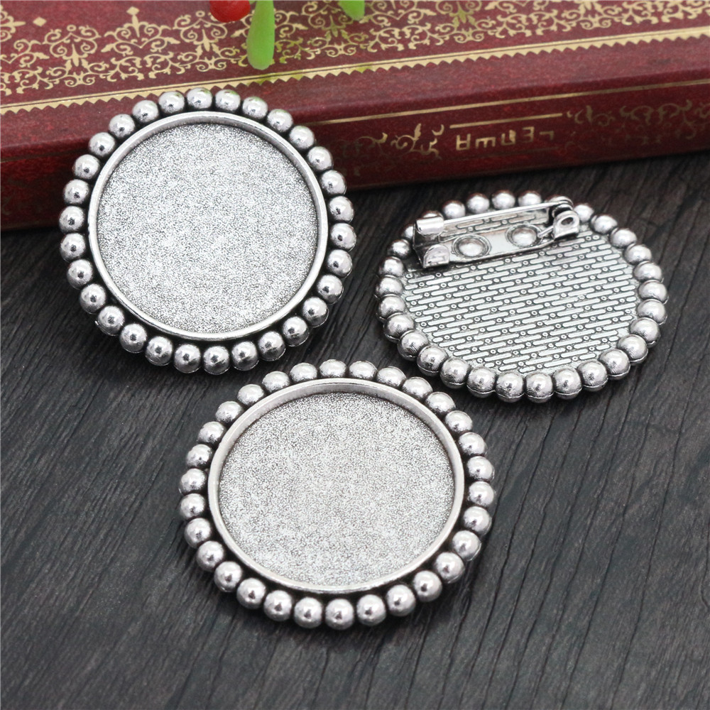 New Fashion  2pcs 25mm Inner Size Antique Silver Plated Brooch Sweet Style Cabochon Base Setting (A4-15)