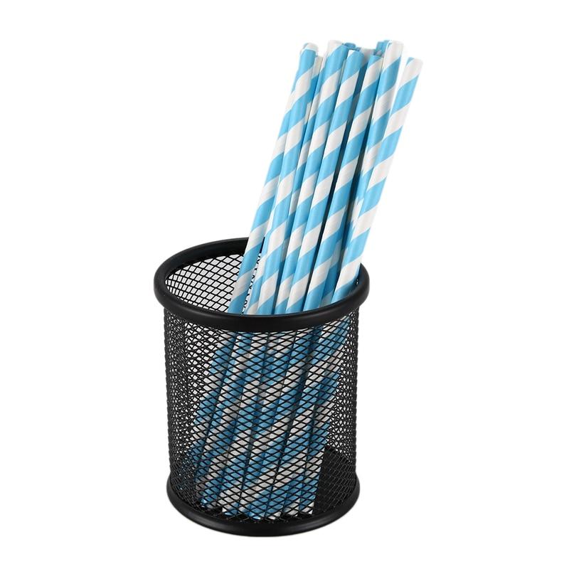 25x Paper Straws Birthday Wedding Baby Shower Party Stripes, Light Blue