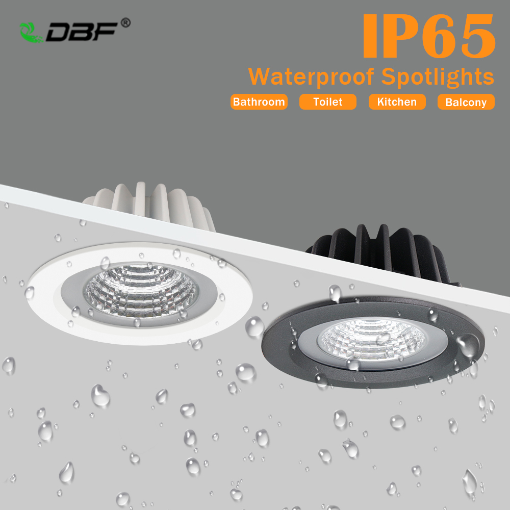 [DBF]IP65 Waterproof LED Ceiling Spot Light 5W 7W 12W 15W Black/White Round Recessed Light Bathroom Spot Light 3000K/4000K/6000K
