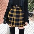 Primavera verão harajuku moda feminina saias bonito amarelo preto vermelho saia plissada estilo punk cintura alta feminino mini saia curta