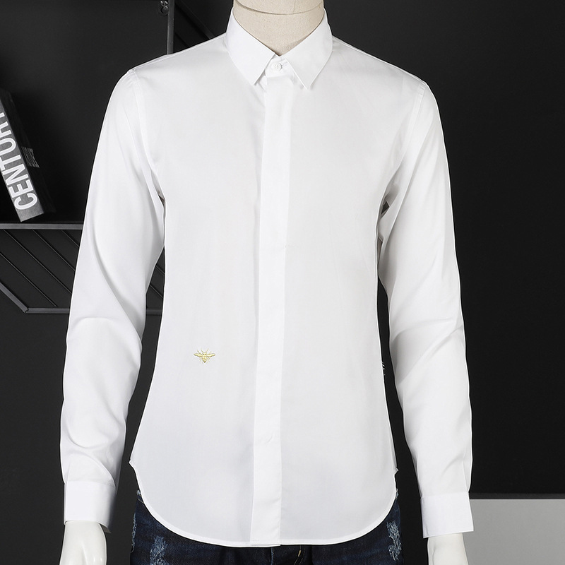 Europe Fashion Classic Embroidered Little Bee Men's Formal Long-sleeved Solid Shirt Plus Size XXXL Slim Pure Cotton Shirts Men