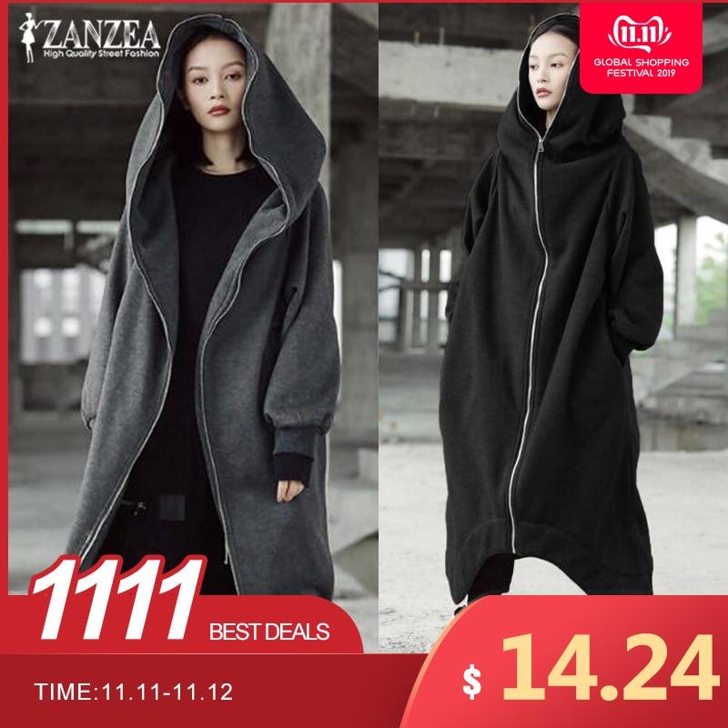 Mulheres casacos com capuz jaquetas 2019 zanzea plus size feminino manga longa zip jaquetas longas senhoras inverno outerwear fino windbreakers