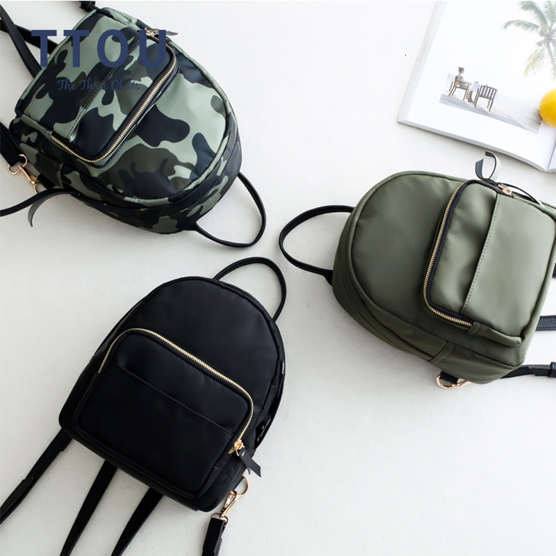 TTOU Oxford Small Women Backpack 2019 Camouflage Daily Daypack Waterproof Mini Backpack Female Rucksacks Lightweight Mochila