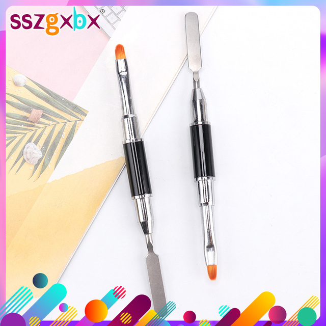 1PC Dual Ended Nail Art Acrylic UV Gel Extension Builder Flower Painting Pen Brush UV Gel Remover Spatula Stick Manicure Tool