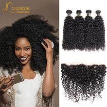 Cabelo brasileiro afro kinky curly pacotes com frontal kinky encaracolado 13x4 rendas frontal com pacotes joedir não-remy para preto