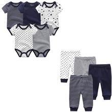 9 ピース/ロット新生児は綿 100% ロンパース + パンツベビージャンプスーツガール服パンツropaのベベ幼児服セット