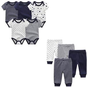 Image 1 - 9PCS/LOT Newborn Baby Clothes Sets 100% Cotton Rompers+ Pants Baby Jumpsuit Girl Clothing Pants Ropa Bebe Toddler Clothing Sets