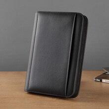 Carpeta Archivadora A5 de piel sintética con carpetas con cremallera para documentos, padfolio A5 para negocios con cuaderno de bolsillo externo 1324