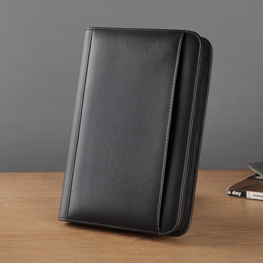 Faux Leather A5 File Folder With A Zipper Folders For Documents A5 Padfolio For Business With External Pocket Notebook 1324