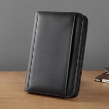 Pasta de arquivo de couro do falso a5 com um zíper pastas para documentos a5 padfolio para negócios com caderno de bolso externo 1324