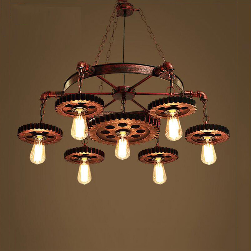 Dampf punk getriebe vintage kronleuchter küche leuchten für esszimmer wohnzimmer anhänger lampen restaurant cafe droplight