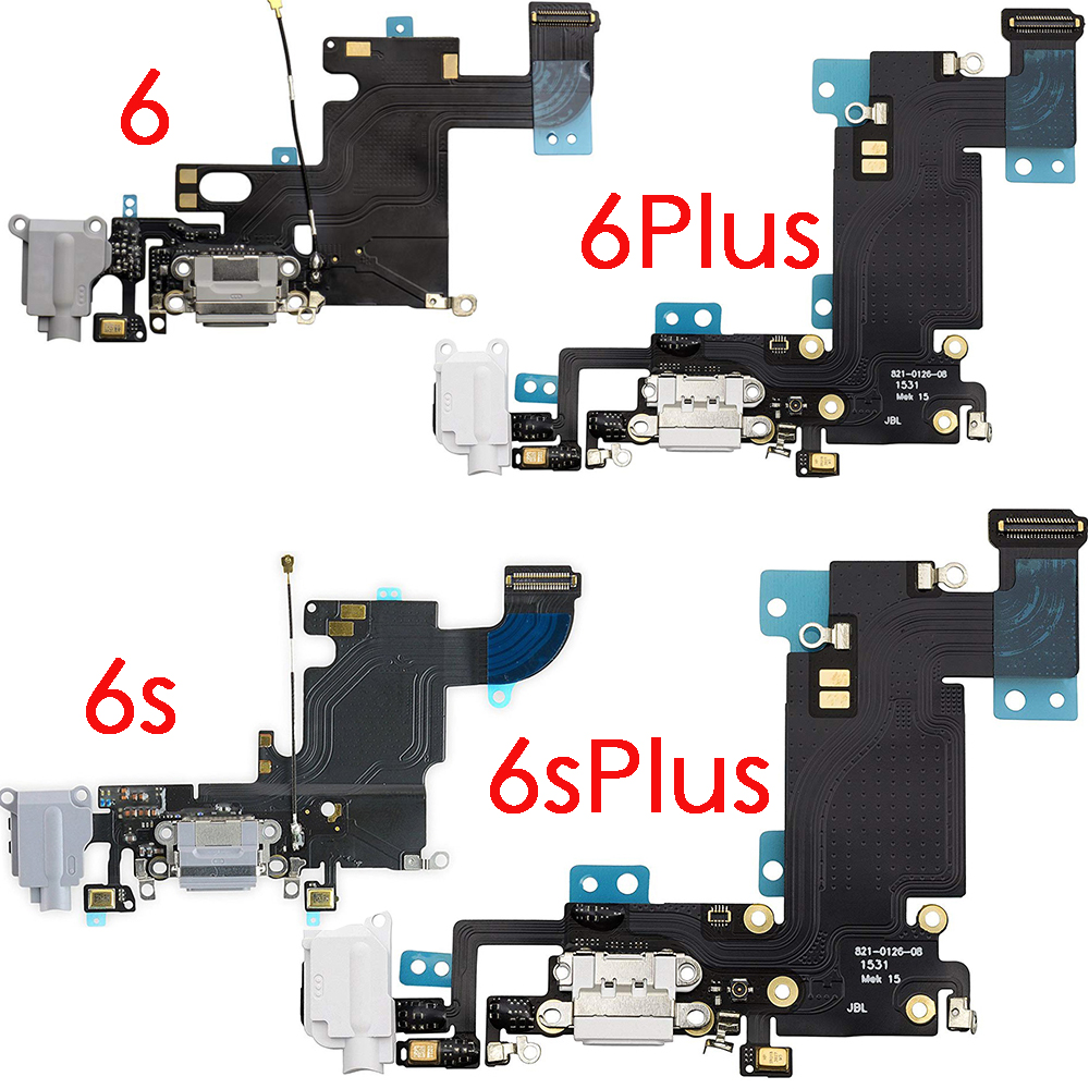 USB Charging Port Dock Connector Flex Cable + Microphone + Headphone Audio Jack Replacement Part For IPhone 6 6 Plus 6s 6s Plus