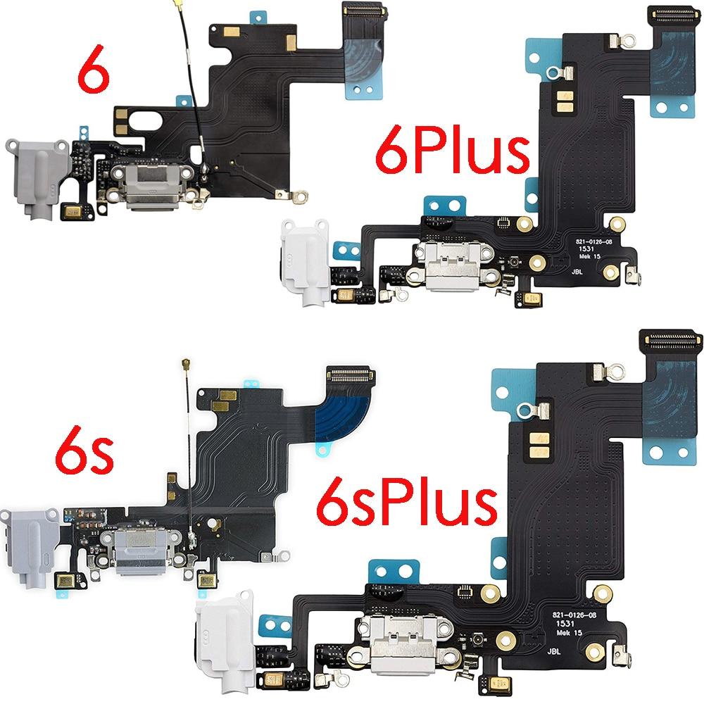 USB Charging Port Dock Connector Flex Cable + Microphone + Headphone Audio Jack Replacement Part For IPhone 6 6 Plus 6s 6s Plus