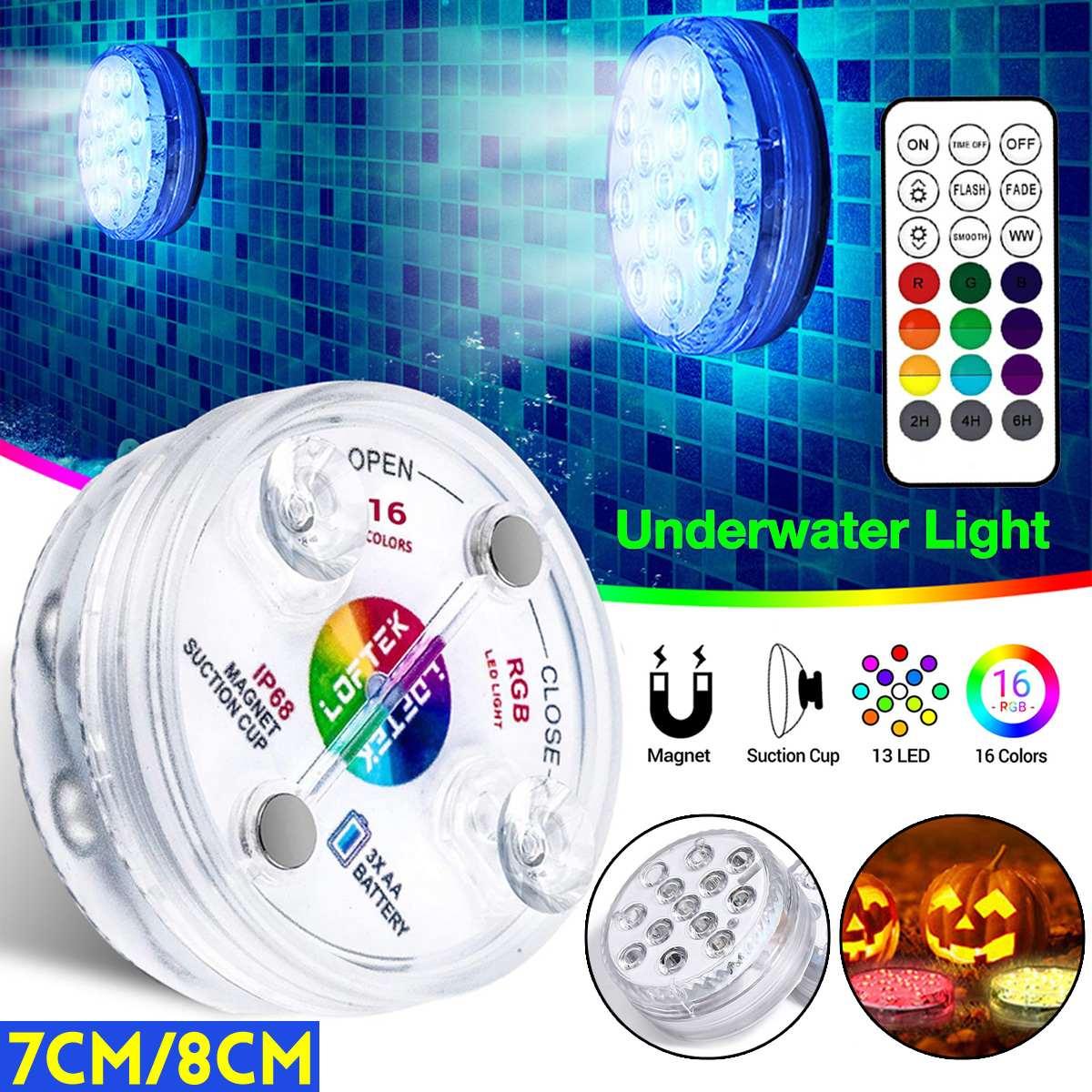 7cm/8cm 10/12/13 LED Sommergibile Ha Condotto Le Luci con Telecomando di Controllo, 16 colori Ha Condotto La Luce Subacquea Piscina Con La Tazza di Aspirazione