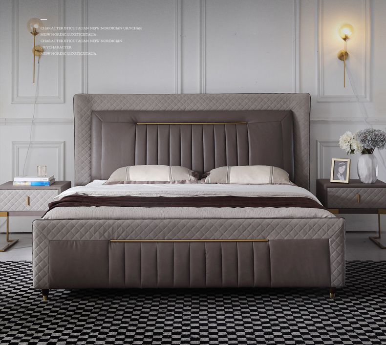 RAMA DYMASTY genuine leather soft bed modern design bed bett, cama fashion king/queen size bedroom furniture