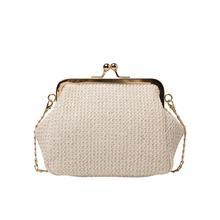 Chain Straw Kiss Lock Shell Women's Handbags  Vintage Designer Bag Women Shoulder Crossbody Bag free shipping
