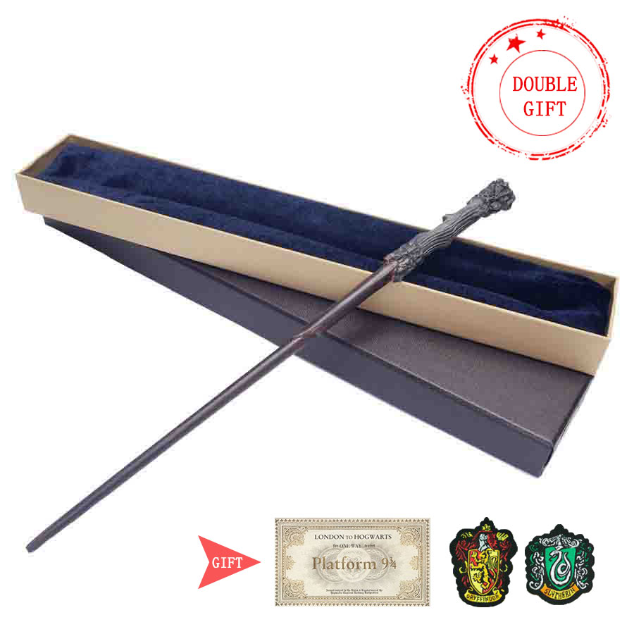 35-42cm Metal Core Magic Wand 20 Species Potters Cosplay Dumbledore Voldemort Malfoy Snape Wands Toys Ticket Badge As Free Gift