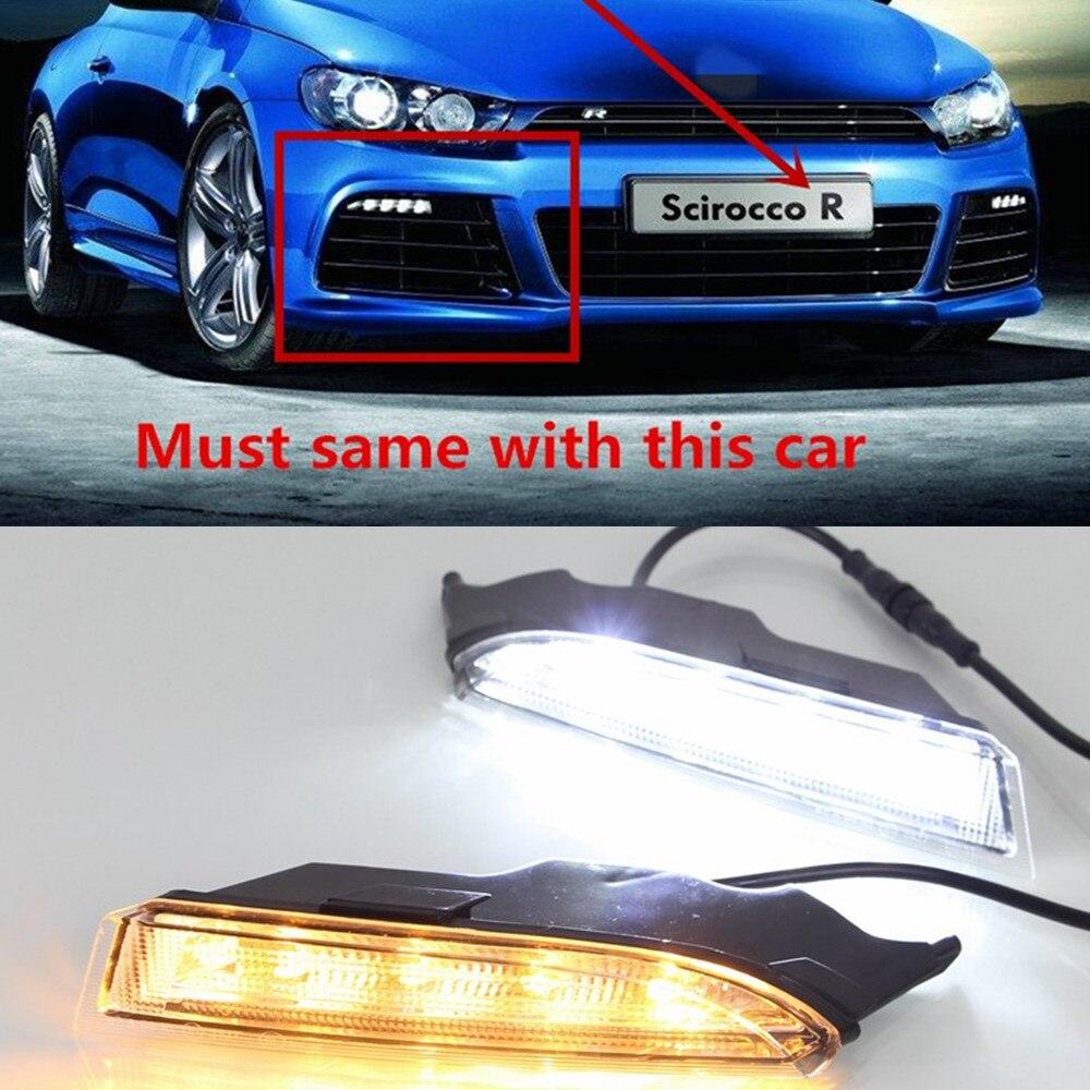Автомобильная проблесковая для Volkswagen VW Scirocco R 2010 2011 2012 2013 2014 светодиодный DRL Дневной светильник с Поворотная сигнальная лампа