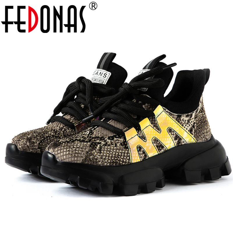 FEDONAS Brand Women Crystal Decoration Genuine Leather Sneakers Top Quality Flats Platform Casual Shoes Woman New Women Flats