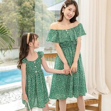Summer new Korean version of mother and daughter parent-child dress girl dress wave dot net red chiffon foreign girl princess dr korean version of slim fashion in the big girl child sweat breathable spring new girl dress for3 13t