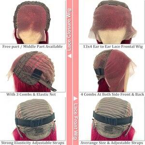 Image 3 - Омбре цвет волнистых волос 13x4 парик фронта шнурка натуральный черный бразильский Реми человеческие волосы комплект с 4x4 кружева Закрытие парики для женщин