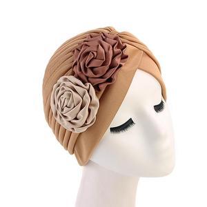 Image 4 - 女性ダブル花ターバン帽子イスラム教徒ビーニーボンネット化学がんキャッププリーツヘッドスカーフカバーイスラムファッションヘッドラップストレッチ