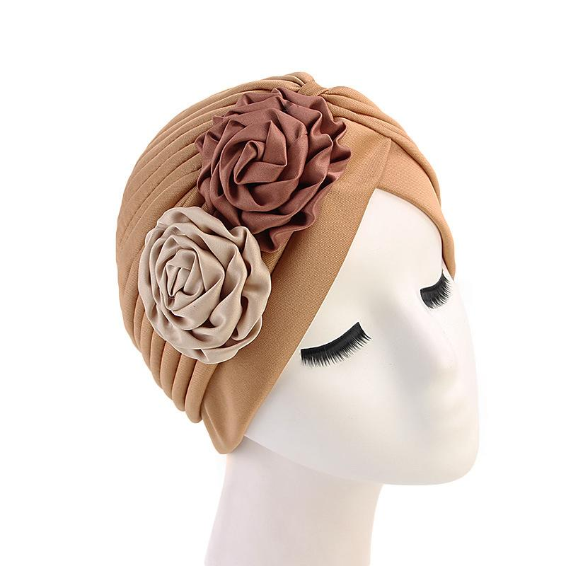 Image 4 - Women Double Flower Turban Hat Muslim Beanie Bonnet Chemo Cancer 