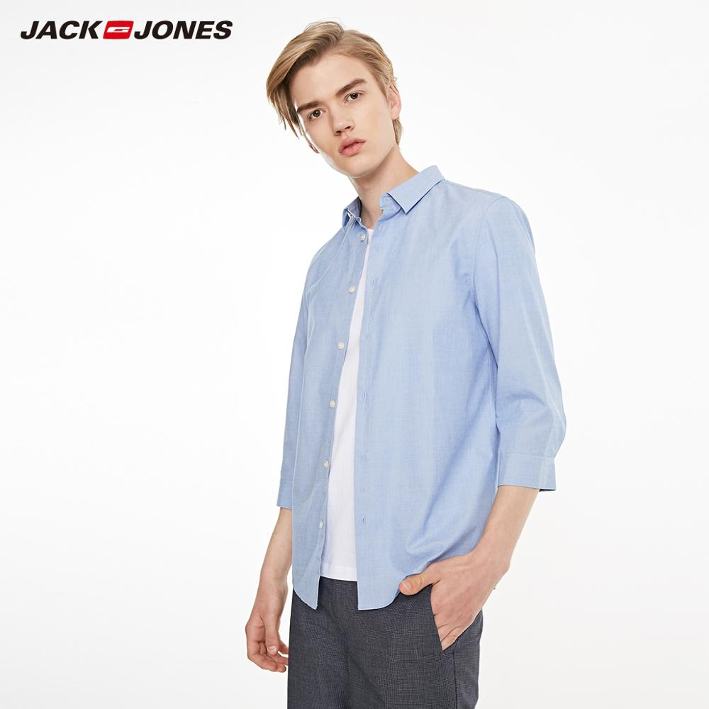 JackJones Men's 100% Cotton Casual Pure Color 3/4 Sleeves Shirt Menswear| 219131503