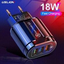 USLION 18W USB Sạc Sạc Nhanh QC 3.0 Tường Sạc Cho iPhone 12 11 Samsung Di Động Xiaomi 3 Cổng EU Mỹ Cắm Du Lịch