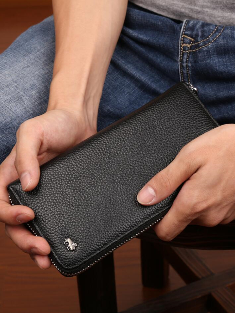 Clutch Bag Wallet Card-Holder Coin-Purse Zipper Male Genuine-Leather Bison Denim Brand