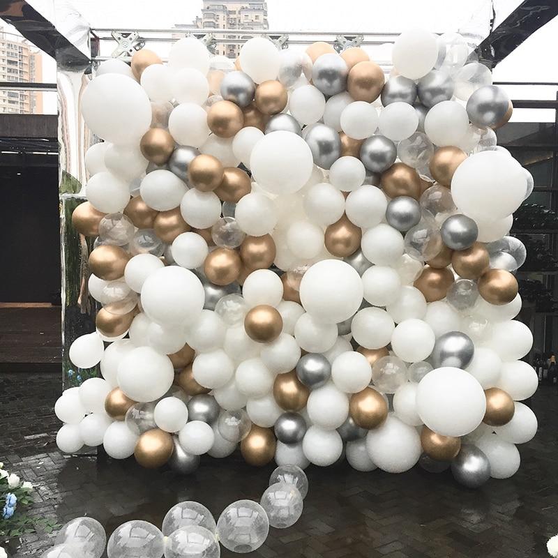 15pcs/lot 5/10/12inch Metallic Balloons Wedding Birthday Party Deco Ballons White Gold Silver Latex Balloons Party Supplies