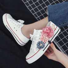 White Women Sneakers Summer Canvas Shoes Ribbon Strap low to