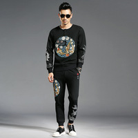 Chinese style Men's sweat suit high qulity sweatshirts + casual pants two piece set Chic Men leisure suit A863