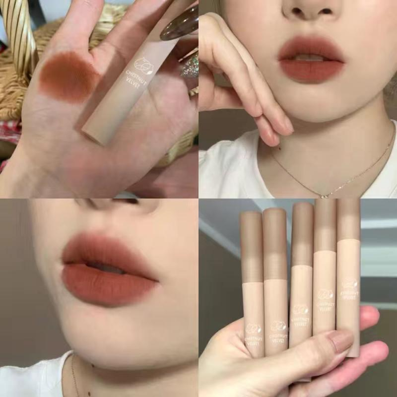 Chestnut Velvet Matte Liquid Lipstick Waterproof Lip Gloss Long Lasting Nude Lipstick Women Red Lip Tint Beauty Cosmetic TSLM2