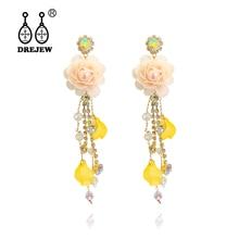 DREJEW Flower Leaf Water Drop Rhinestone Statement Dangle Earrings 2019 925 Alloy Drop Earrings for Women Fashion Jewelry HE1551 стоимость