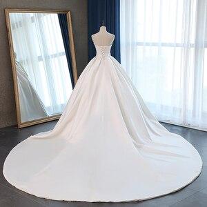 Image 2 - Fansmile saten Vestido de Noiva zarif balo elbisesi düğün elbisesi 2020 uzun tren gelin balo elbisesi artı boyutu özelleştirilmiş FSM 072T