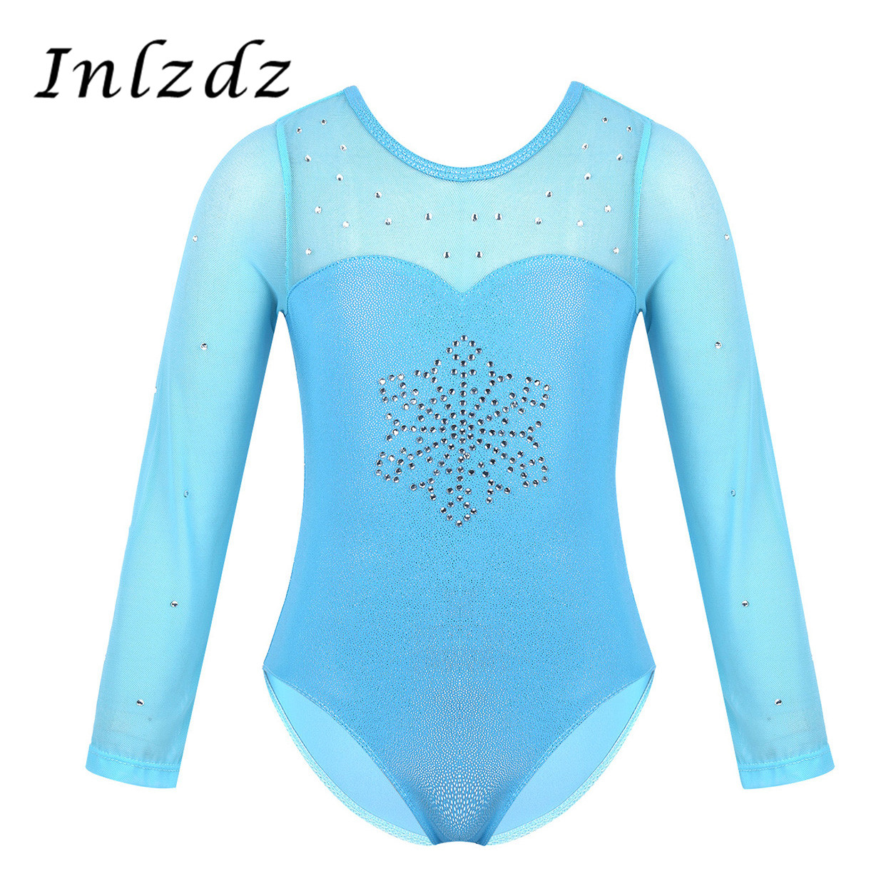 Kids Girls Gymnastics Swimsuit For Dancing Rhinestone Snowflake Tulle Dancewear Splice Gymnastics Leotard Ballet Dance Bodysuit