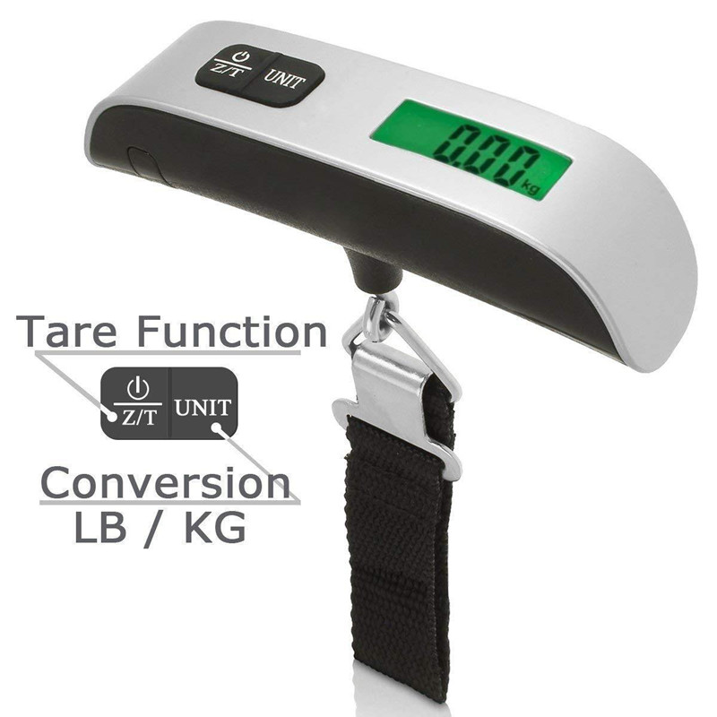 Portable 50kg/110lb Digital Electronic Luggage Scale Suitcase Scale Handled Travel Bag Weighting Fish Hook Hanging Scale