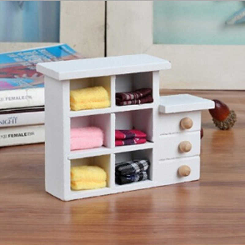 Kitchen Bathroom White Cabinet Chest Cupboard Wooden Toys for Doll 1:12 Scale Dollhouse Miniatures Furniture