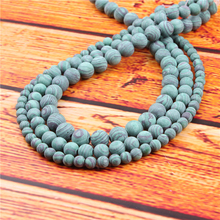 Frosted Malachite Natural Stone Bead Round Loose Spaced Beads 15 Inch Strand 4/6/8/10/12mm For Jewelry Making DIY Bracelet