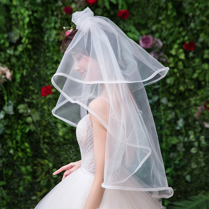 Fashion One-layer Tulle Bridal Veil Charming 1.5 Meters  Wedding Elbow Length Veil Wedding Accessories