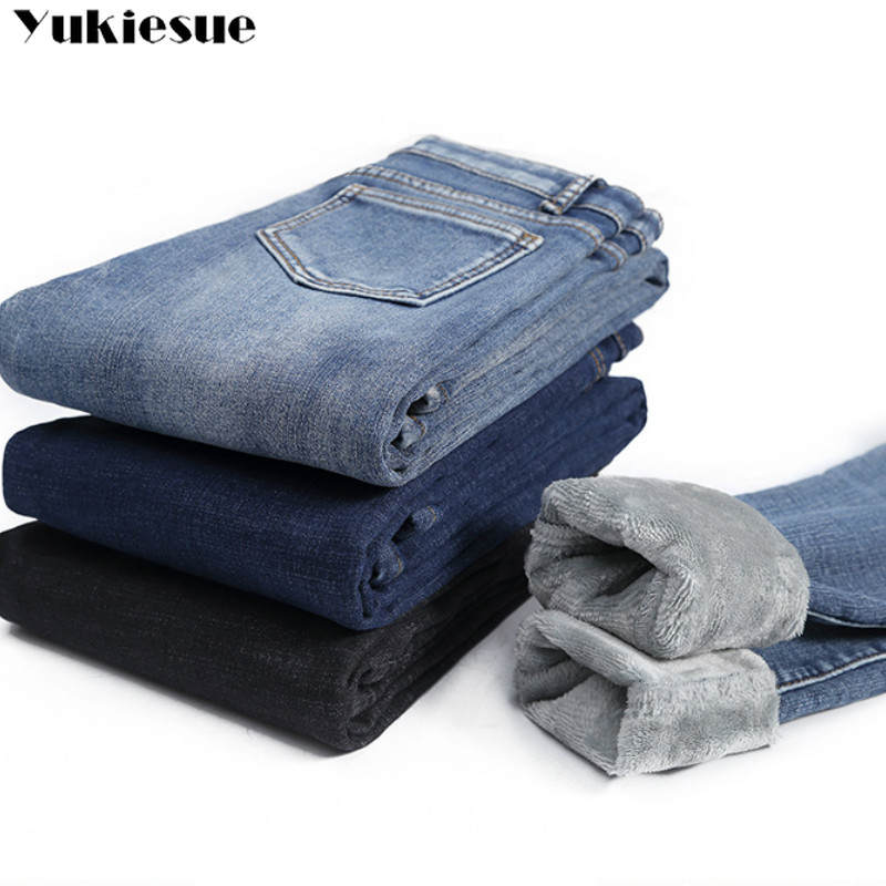 Skinny Jeans Pencil-Pants Stretch Slim-Fit Fleece Warm Velvet Women High-Waist Winter