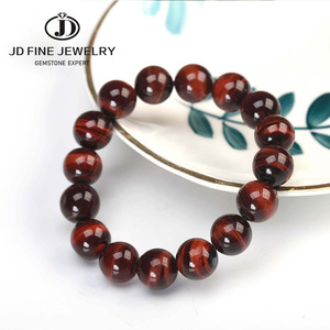 Image 1 - JD Classic 4 18MM Natural Stone Prayer Beads Tiger Eye Bracelet Handmade Red Brown Natural Stone Braclet For Men Yoga Jewelry
