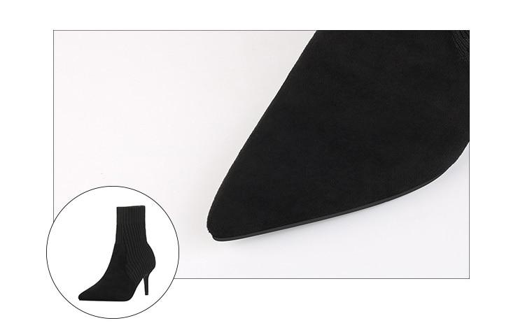 Сапоги чулки mudibear женские пикантные вязаные эластичные ботинки