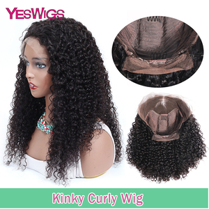 Image 1 - Kinky Curly Wigs For Women 13X4 Malaysian Curly Human Hair Wigs 130% Density YESWIGS HAIR Brown Lace Front Wig Natural Hair